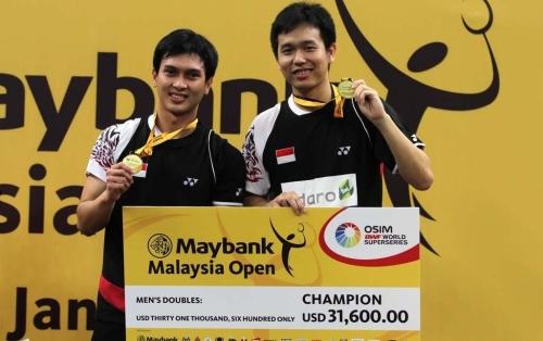 Mohammad Ahsan/Hendra Setiawan saat menjuarai Malaysia Open SS 2013. Sumber gambar : pbdjarum.org