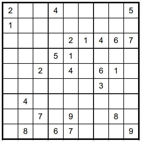 Salah satu contoh Sudoku level menengah